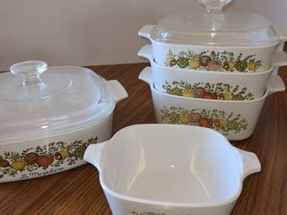 7 pcs  Corning Ware with Fruit and Vegetables on it