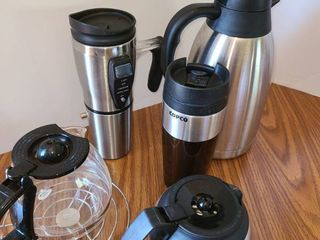 2 Small Coffee Pots  2 Traveling Coffee Mugs and a Carafe