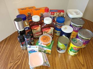 FOOD  Variety of things Can Goods  Spices  Tea  Tuna Helper  Rice and other items pictured