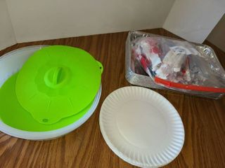 Small Amount of Paper Plates  Plasticware  Foil Pans  and some Splatter Covers for Microwaving Food and leftover Covers