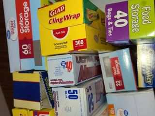 Vast Variety of Paper Goods  Saran Wrap  Aluminum Foil  Baggies Various Sizes