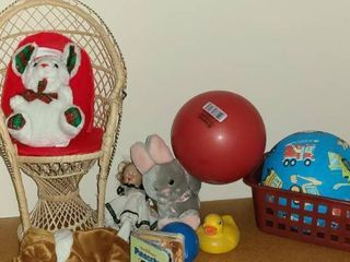 Toys  Various Items  Balls  Stuffed Animals and Wicker Chair