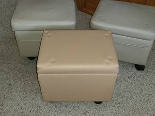 3 Small Storage Ottomans  12 x 12 x 10  Has side storage pockets  One of the lighter colored beige has a broken castor