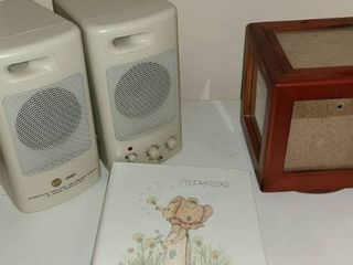 2 Computer Speakers Round photo display and address book