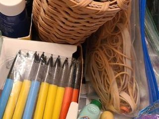 Office Supplies Rulers  Pens  Pencils  Erasers  Ink for Rubber Stamping  and other miscellaneous items