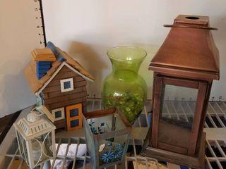 lantern  vase  candleholders and wood house  no bottom