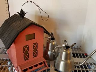 Metal Bird feeder and 2 watering cans