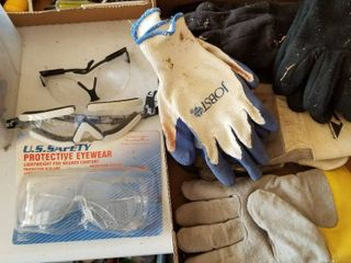Work gloves and safety glasses