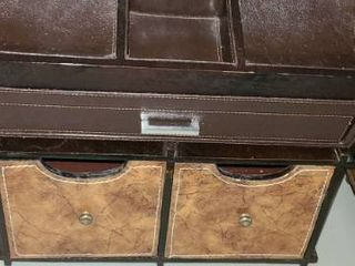 2 leather and Wood Desk Top Organizers
