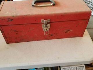 Metal tool box with contents