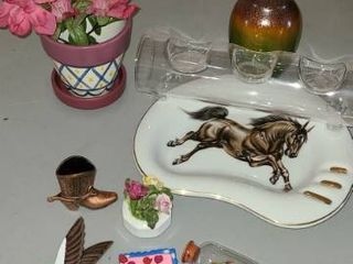 Home decor items Bric a brac  Horse on ash tray  vase  Planter  and other items