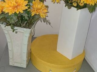 Home decor items   2 Vases with Faux Flowers and Round Yellow Box with lid