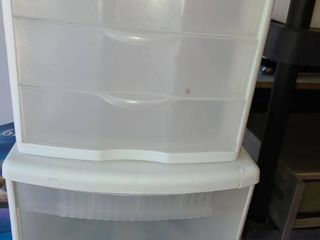 Sterilite Storage Bins  1 is 3 drawers and the other is just 1 drawer