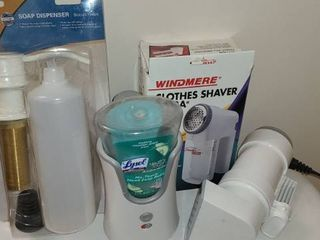 2 Soap Dispensers  Clothes Shaver  and Travel Size Steamer