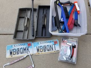 Car Cane portable handle and assorted car products and license plates