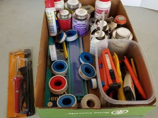 PVC cement  box cutters and soldering iron