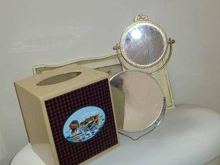 Bathroom items Kleenex Box Holder  2 Mirrors and Wooden Tray
