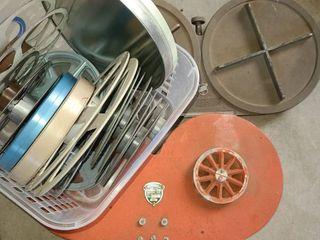 Old Movie Reels and 2 Old Movie Reel Cases