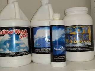 Gallons of Cleaning Supplies  Windows Wash  Wash Day  laundry soap  and Dishwasher Soap