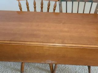 Kitchen Table with Collapsible Sides  29 x 50 x 19 5 with sides down and 35 5 with sides up  It also comes with 2 mix matched chairs