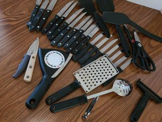 Kitchen Utensils  Cheese Grater  Cheese Cutter  Slotted Spoon  15 Steak Knives and other various items