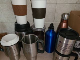 Travel Mugs and Water Bottles  9 cups total