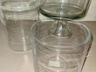 Various Glass Dishes Jars  large one is a fruit bowl