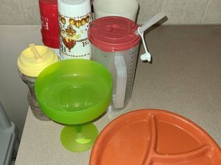 Plastic Drinking Cups and 8 Plastic Divided Plates