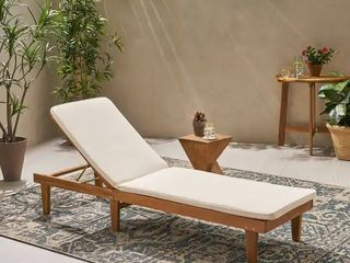 Nadine Outdoor Fabric Chaise lounge Cushion by Christopher Knight Home   Beige  CUSHION ONlY