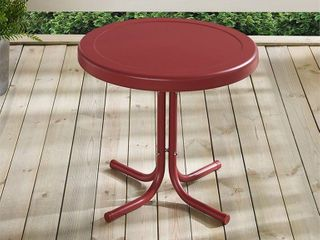 Crosley Furniture Retro Metal Side Table   Griffith Red