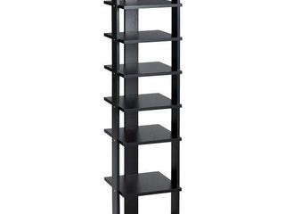 Costway Wooden Shoes Storage Stand 7 Tiers Shoe Rack Organizer   Black
