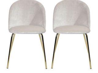 FurnitureR White Velvet With Gold Metal legs Dining Chair  Set of 2