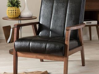Baxton Studio Nikko Faux leather Accent Chair   Black and Walnut