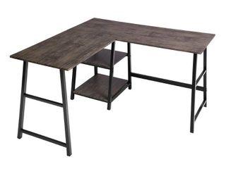 FurnitureR l Shaped Walnut Computer Desk with Shelves   Brown