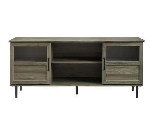 Walker Edison Furniture 58 in  Glass   Wood Split Panel Door TV Console  Slate Gray