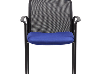 Boss Office Products Stackable Mesh Guest Chair  Blue Black