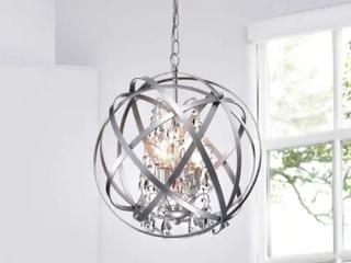 Benita Silver 4 light Metal Crystal Orb Chandelier