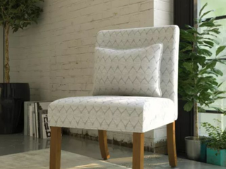 HomePop Ash Gray Parker Accent Chair with Pillow