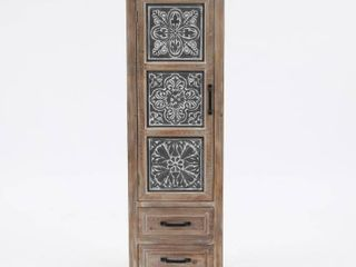 luxen Home Metal and Wood Tall Tower Cabinet