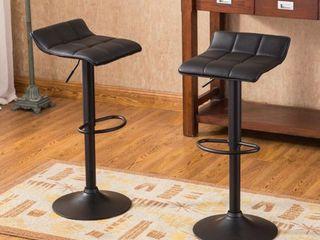 Belham Swivel Bonded leather Adjustable Bar Stool   Black  Set of 2