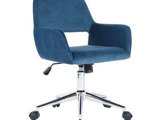 FurnitureR Multi Colors Velvet Fit up Office Chair  Ross Dark Blue