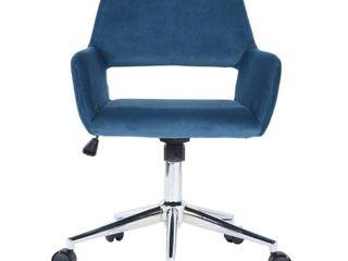 FurnitureR Velvet Fit up Office Chair   Dark Blue