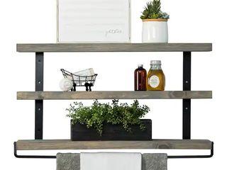 Del Hutson Designs Industrial Grace Three Tier Floating Shelves   Grey