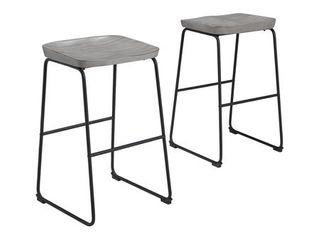 Signature Design by Ashley Showdell Tall Barstool  Gray Black  Set of 2