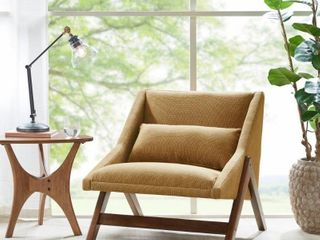 Carson Carrington Turi Mustard Yellow  Pecan lounge Chair