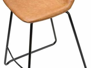 Cortesi Home Ava Counterstools in Saddle Brown faux leather  25  High