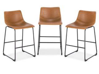 EdgeMod Brinley Steel Counter Stools  Set of 3    Brown