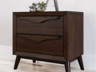 Abbyson Alton Two Drawer Brown Wood Mid Century Nightstand