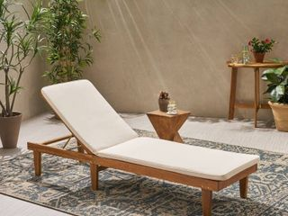 Nadine Outdoor Fabric Chaise lounge Cushion by Christopher Knight Home   Cream  CUSHION ONlY