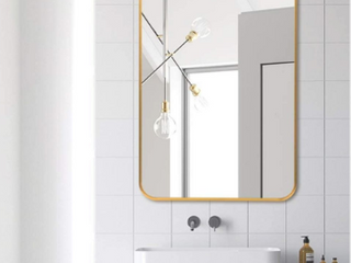 NeuType large Wall Mounted Mirrors for Bathroom Bedroom living Room  Vanity Mirror  Brushed Aluminum Alloy Frame  Burst Proof Glass  Horizontal or Vertical Hanging  38 x26  Gold  Round Corner
